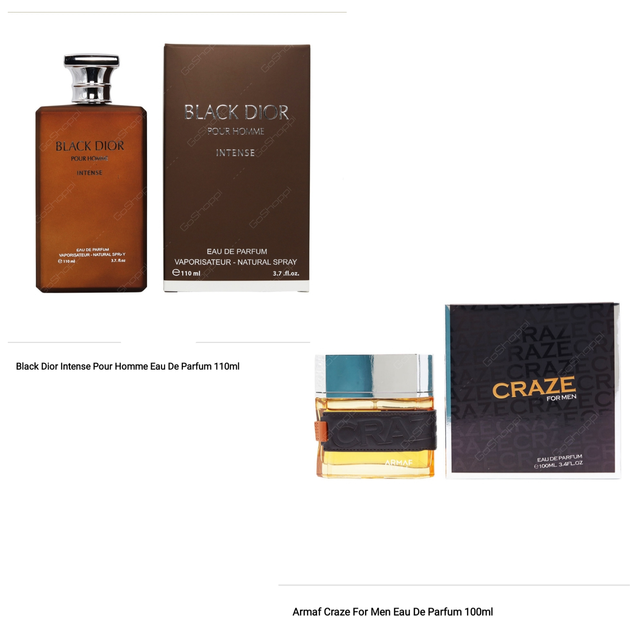 Armaf Craze 100ml and Black Dior Intense 100ml Offer