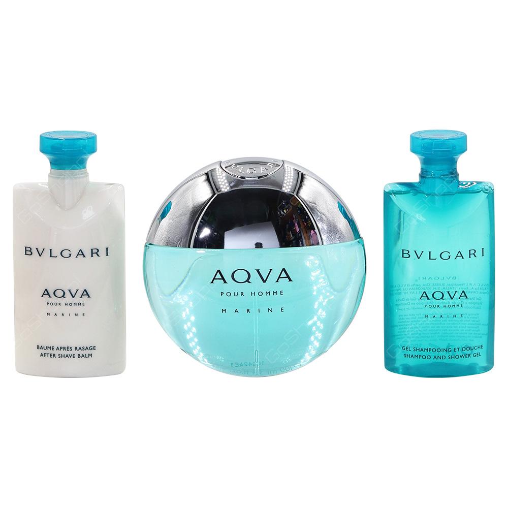 Bvlgari Aqua Marine Gift Pack For Men Eau De Toilette 100ml After Shave Balm 75ml Shampoo And Shower Gel 75ml