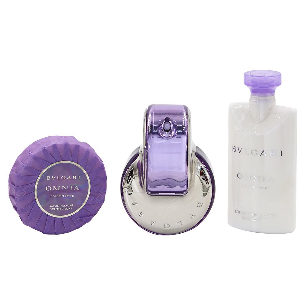 Bvlgari Omnia Amethyste For Women Eau De Toilette 65ml Body Lotion 75ml Soap 75g Beauty Pouch