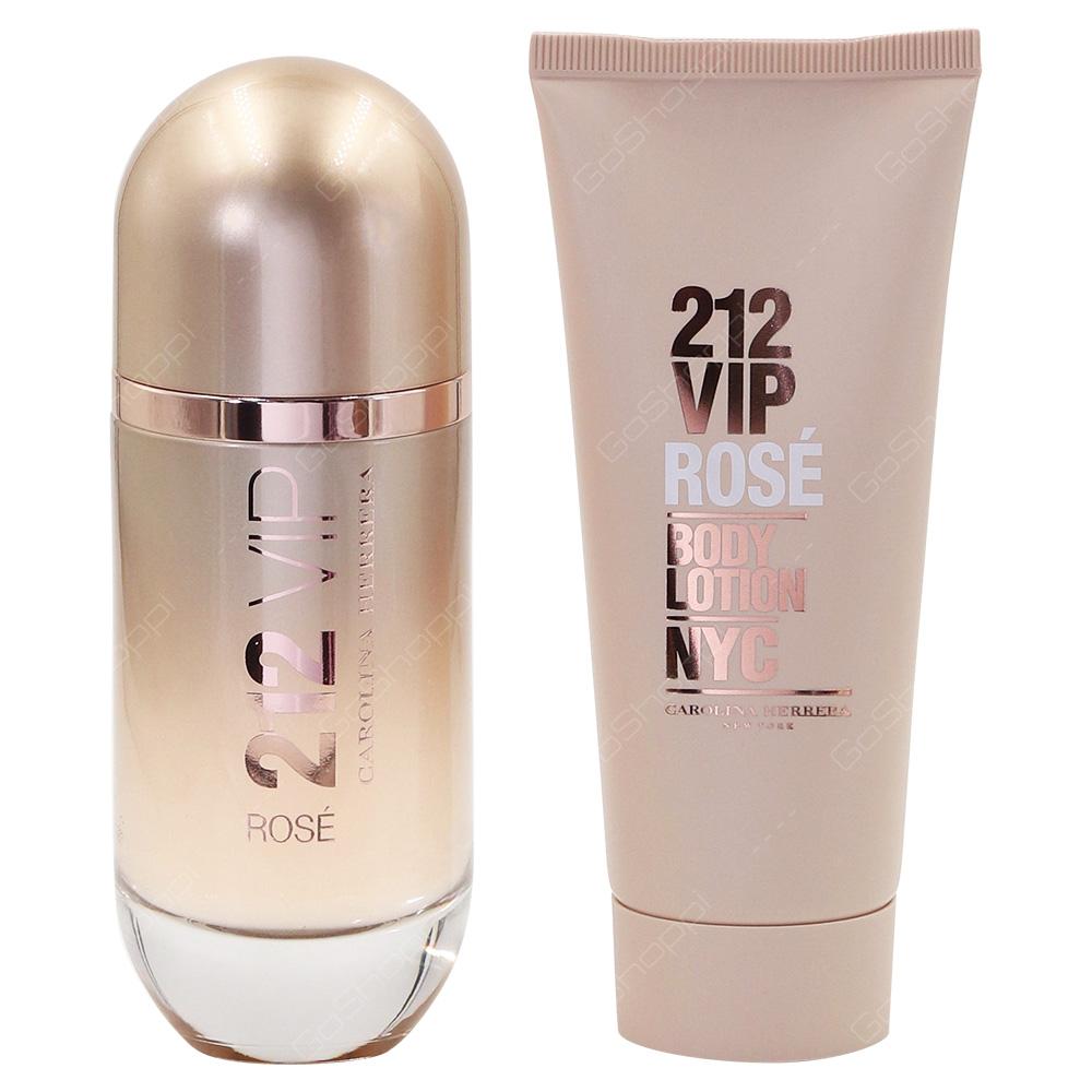 Carolina Herrera 212 VIP Rose Gift Pack For Women Eau De Parfum 80ml Body Lotion 100ml