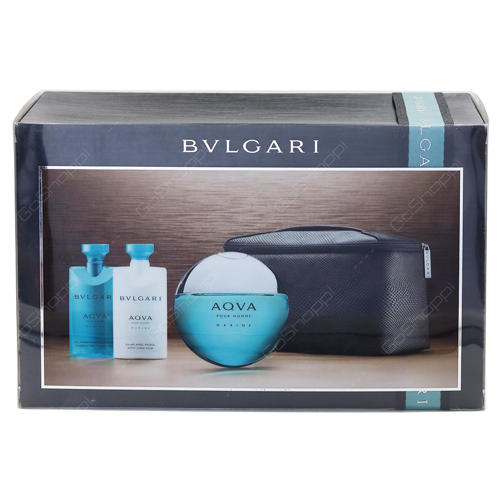 Bvlgari Aqua Marine Gift Pack For Men Eau De Toilette 100ml After Shave Balm 75ml Shampoo And Shower Gel 75ml